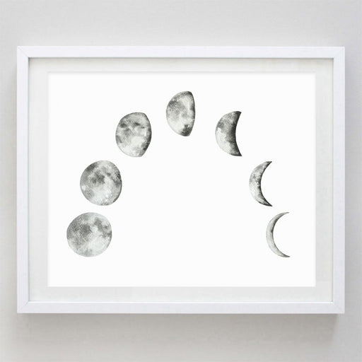 Moon Phase Watercolor Print by Carly Rae