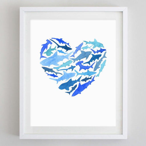 Shark Love Watercolor Print by Carly Rae