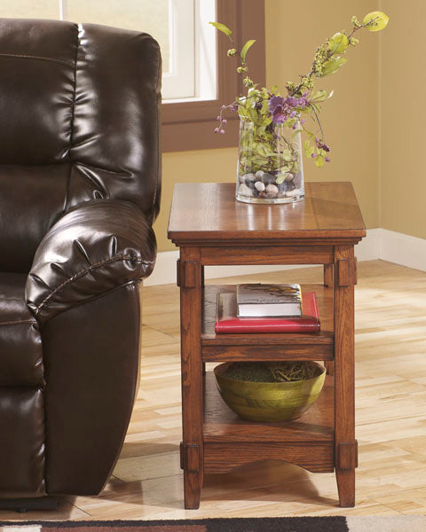 Cross Island - Chair Side End Table - Medium Brown