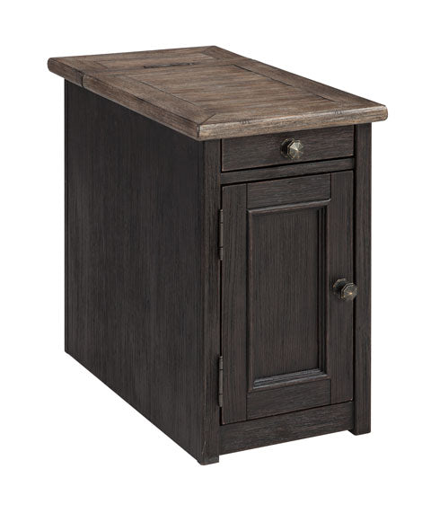 Tyler Creek - Chair Side End Table - Grayish Brown/Black