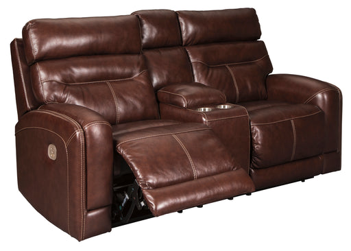 Sessom - Power Reclining Loveseat w/ Adjustable Headrest - Genuine Leather