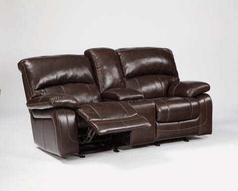 Damacio - Glider REC Loveseat - Genuine Leather - Optional Power