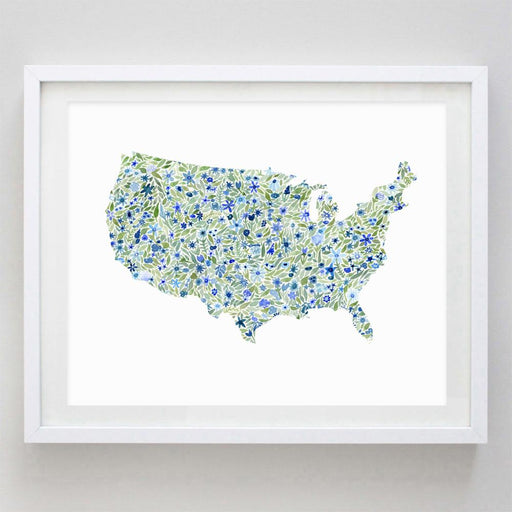 United States Floral Watercolor Print by Carly Rae