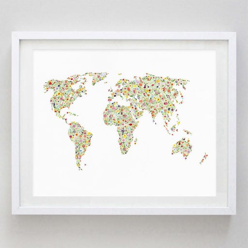 World Map Floral Watercolor Print by Carly Rae