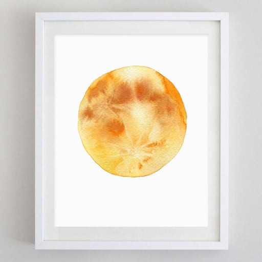 Yellow Moon Watercolor Print by Carly Rae