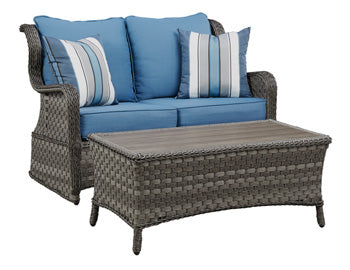 Abbots Court Outdoor Loveseat Glider with Table Set