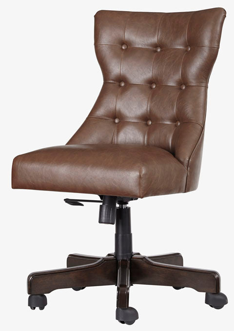 Beige Home Office Upholstered Swivel Desk Chair
