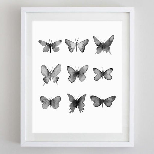 Butterflies Black and White Watercolor Print by Carly Rae