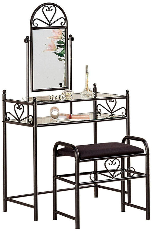 Heart Shape Metal Vanity Set w/ Stool & Mirror - Black