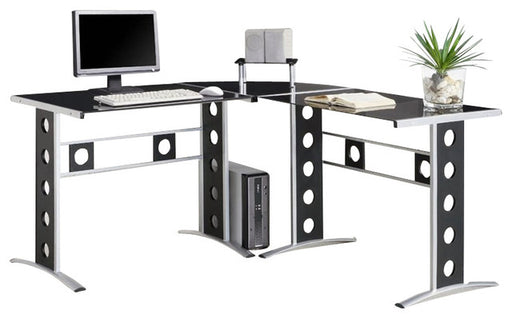 Three Piece L-Shape Computer Desk - Black