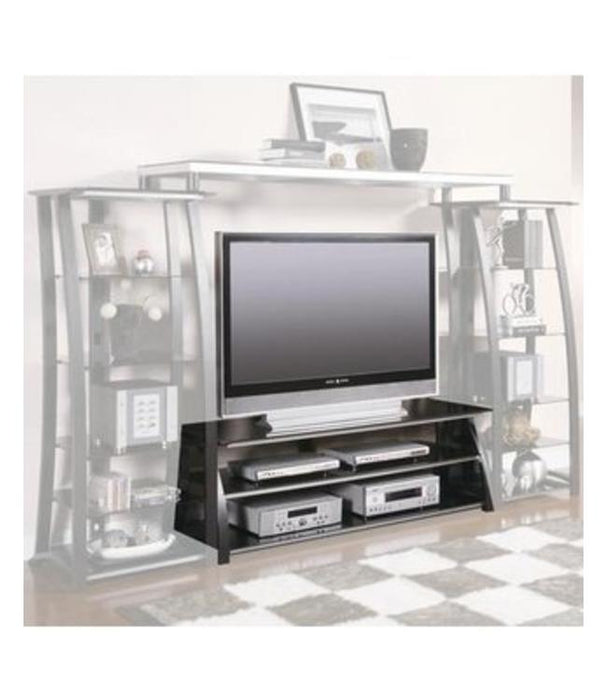 Contemporary Matte Black Entertainment Center w/ Bookcase Piers or TV Stand Only