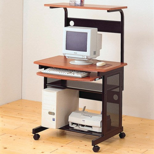 Casual Contemporary Computer Unit with Computer Storage and Casters