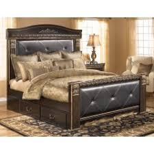 Coal Creek - Upholstered Mansions Storage Bed - Dark Brown