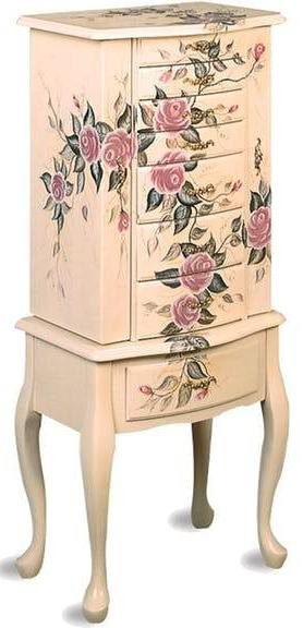Hand Painted Jewelry Armoire - Off White