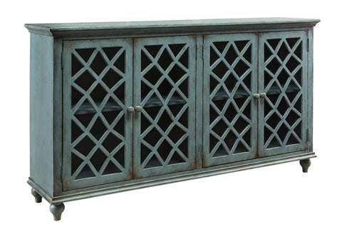 Mirimyn Large Cross Glass Door Accent Cabinet