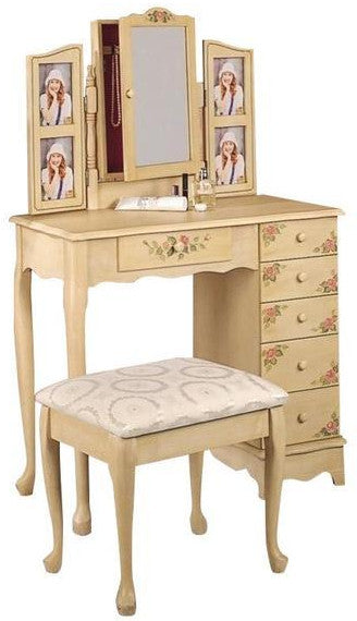 Vanity Set w/ Stool & Mirror - Ivory