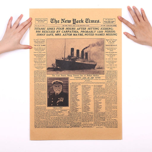 TIE LER  Classic The New York Times History Poster Titanic Shipwreck Old Newspaper Retro Kraft Paper Home Decoration