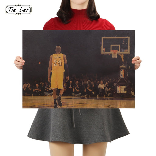 TIE LER Kraft Paper Basketball Star Poster Cafe Bars Kitchen Decor Posters Adornment Vintage Poster Retro Wall Stickers
