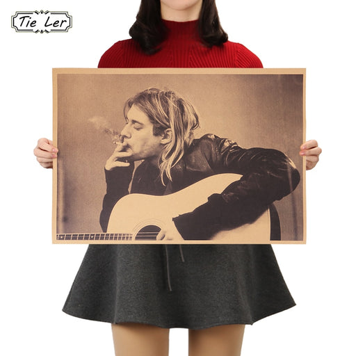 TIE LER Kurt Cobain Nirvana Frontman Rock Poster Kraft Paper Cafe Bar Poster Retro Poster Wall Sticker