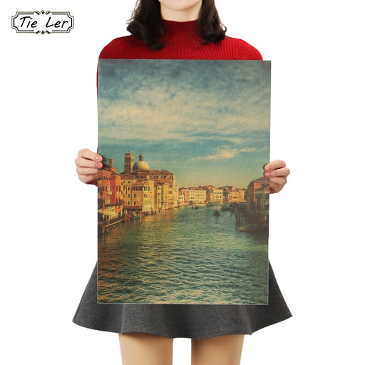 TIE LER Venice Famous Italy Tourist City Good View Kraft Paper Bar Poster Retro Poster Decorative Painting Wall Sticker