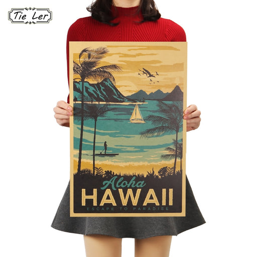 TIE LER Aloha Hawaii Famous Tourist Landscape Painting Kraft Paper Bar Poster Vintage Decorative Painting Wall Sticker 51x34cm