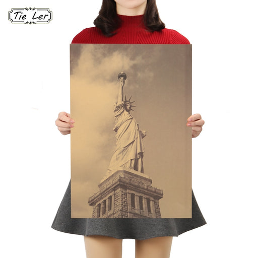 TIE LER Vintage The Statue of Liberty New York Retro Kraft Posters Wall Adornment Wall Stickers Decorative Paintings