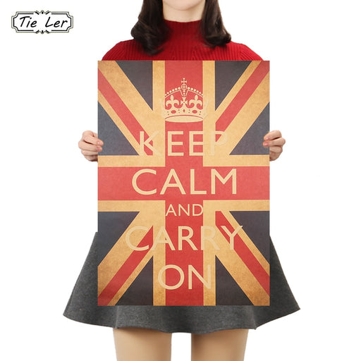 TIE LER Keep Calm And Carry On Vintage Retro Classic Poster Wall Art Decor Pictures Posters Kraft Paper Home Decor Wall Sticker