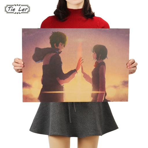 TIE LER Your Name B Style Movie Poster Painting Wallpaper Kraft Poster Wall Sticker Decorative Painting 51.5X36cm
