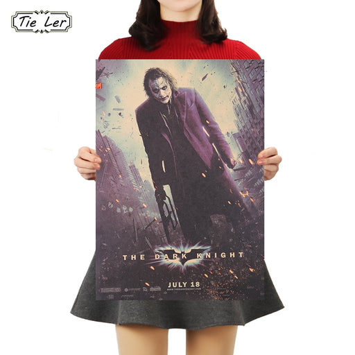 TIE LER Movie Dark Dawn Knight Vintage Kraft Paper Poster Bar Cafe Western Restaurant Decorative Painting Wall Sticker 50.5X35cm