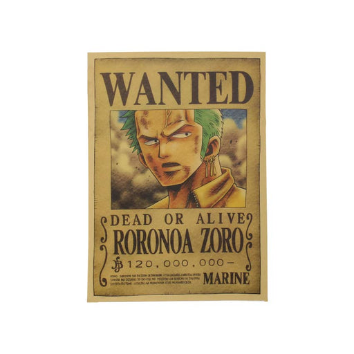 Classic Anime Kraft Paper Poster - One Piece Zoro Most Wanted
