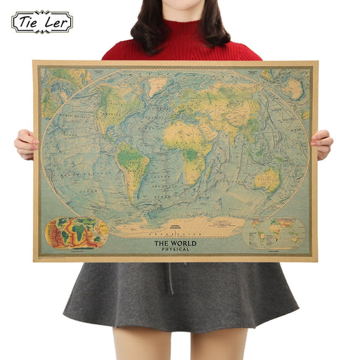 TIE LER World Map Collection Poster Cafe Bars Kitchen Decor Posters Adornment Vintage Poster Retro Wall Stickers