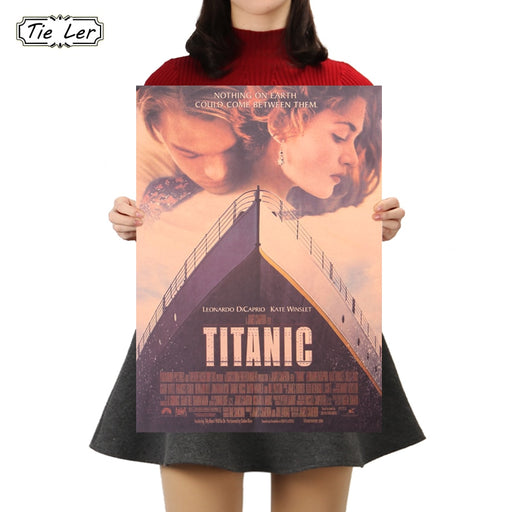 TIE LER Titanic Classic Movie Kraft Paper Bar Cafe Poster Retro Home Decorative Painting Wall Sticker 50.5x35cm