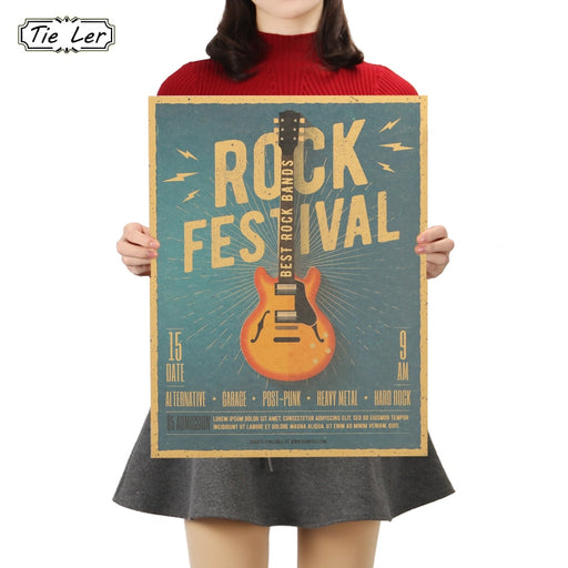 TIE LER Music Guitar C Style Poster Bedroom Wall Poster Home Decor Modern Rock Wall Sticker for Decor 47X36cm