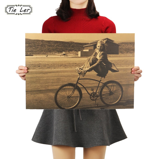 TIE LER Retro Bicycle Decorative Painting Pretty Girl Kraft Paper Poster Bar Cafe Home Wall Stickers 36 X 51.5cm