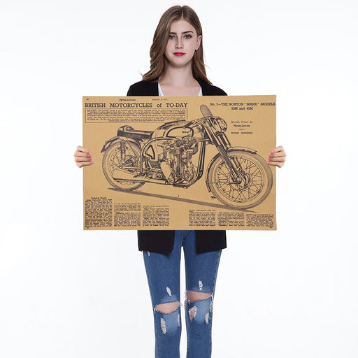 1PC Vintage Motorcycle Design Poster Wall Stickers For Living Room Home Decoration Retro Kraft Paper Poster 50X35cm