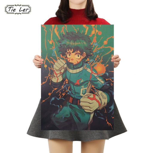 TIE LER Anime Character Kraft Paper Poster Cafe Bars Kitchen Decor Vintage Cartoon Posters Adornment Wall Stickers 50.5X35cm