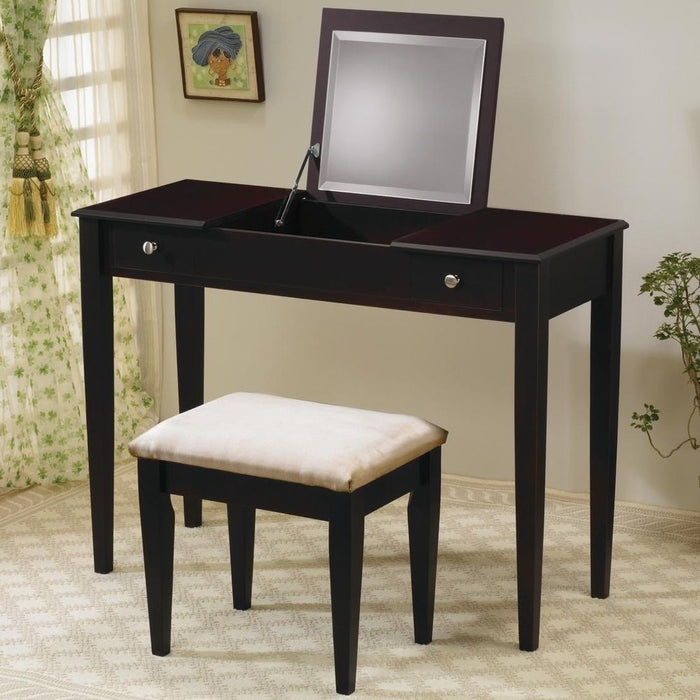 Fine Vanity Desk Set W Hidden Mirror Stool 2 Colors Gmtry Best Dining Table And Chair Ideas Images Gmtryco