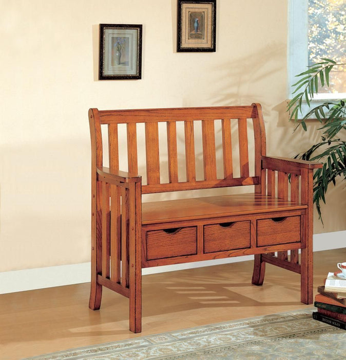 Traditional Bench w/Storage - Warm Brown