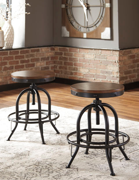 Valebeck Swivel Bar Stool Set of 2 - Adjustable Height - 2 Heights