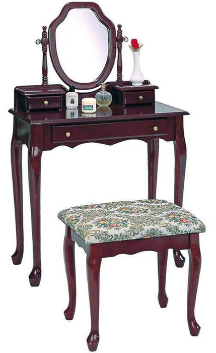 Classic Vanity Set w/ Stool & Mirror - Brown Red