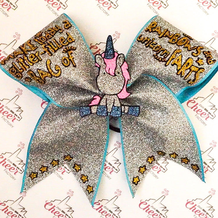 Glitter Cheer Bow - Unicorn - LittleCheerFactory