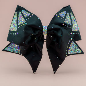 Black In Black FABRIC SEWN Cheer Bow - LittleCheerFactory
