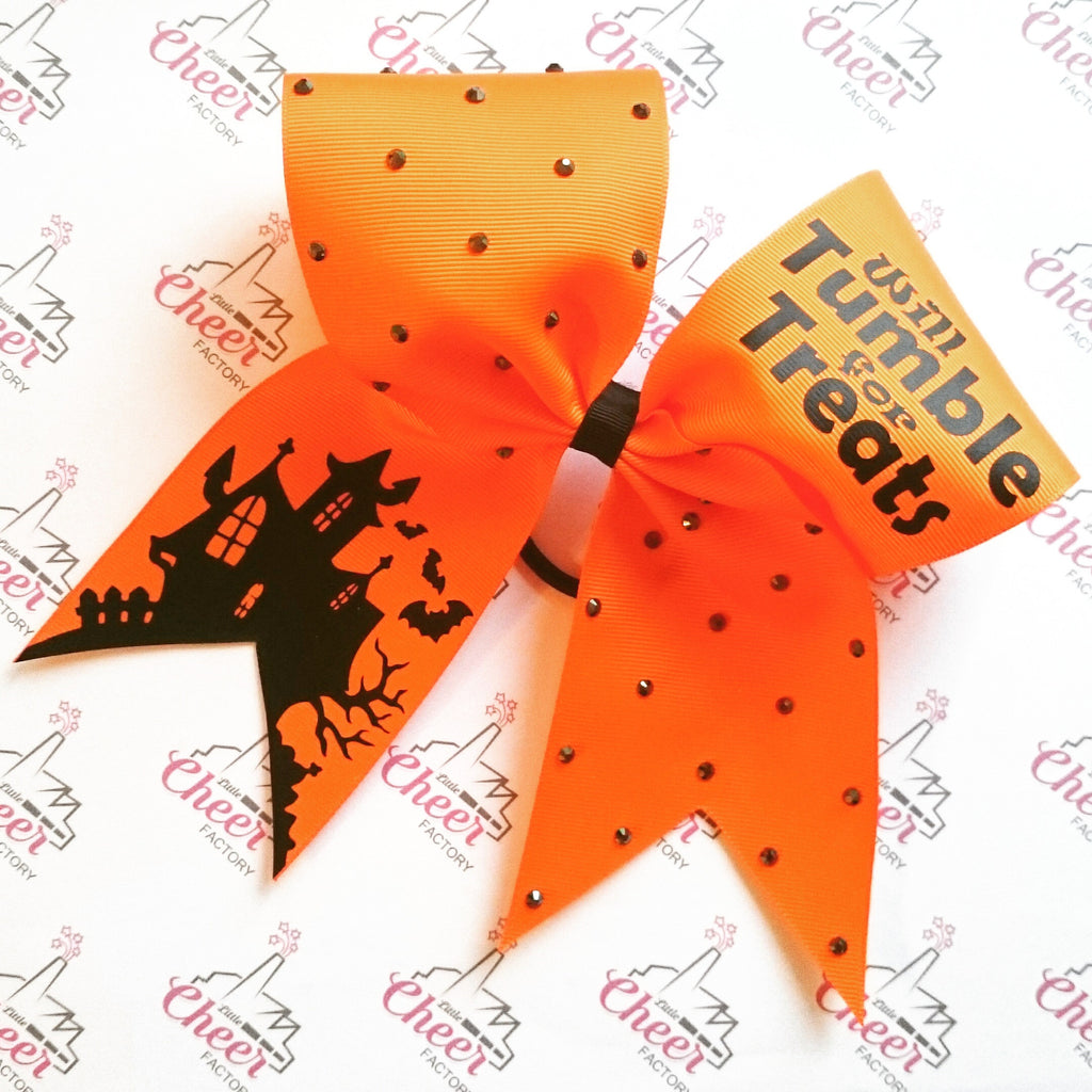 Grosgrain Halloween Bow - WILL TUMBLE FOR TREATS - LittleCheerFactory