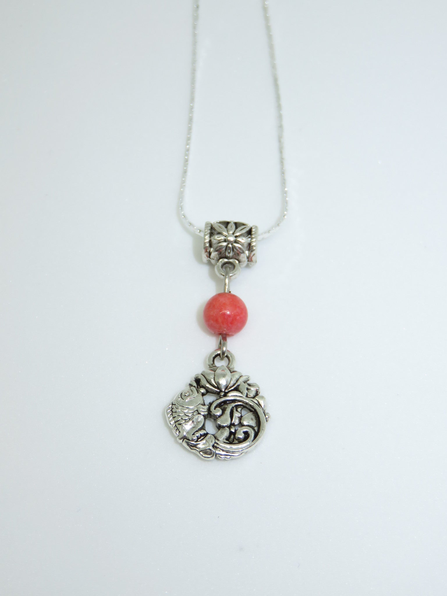 Silver fish bead pendant necklace - Asharlah.com