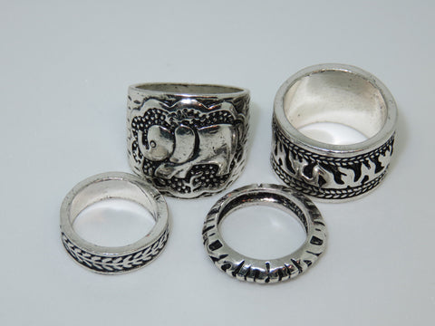 Antique Silver Elephant Ring Set - Asharlah.com