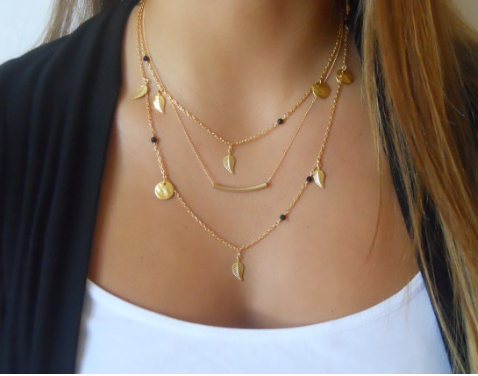 Layered Gold Bar Necklace