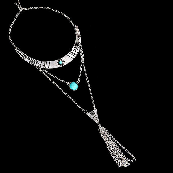 Multilayer Chain Necklace Boho Vintage Tibetan Silver Statement Necklace