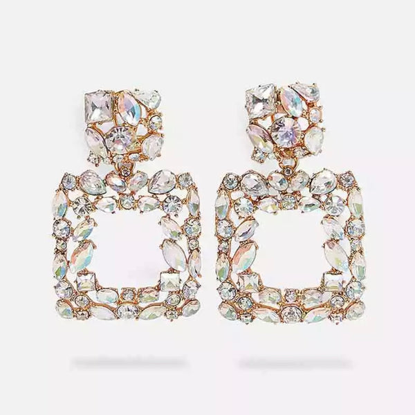 Iridescent Jewel Drop Square Earring