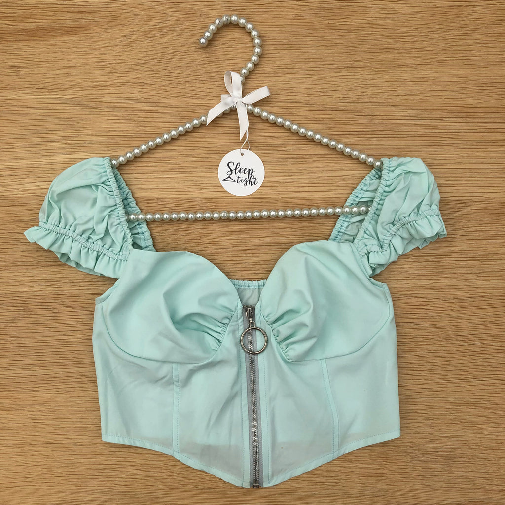 Frill Puff Sleeve Crop Top - Mint Green