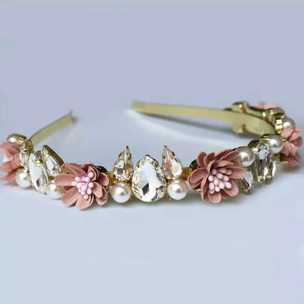 Floral Jewel Headband - Pink